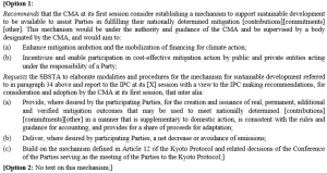 Co-chairs text: Options for creating a carbon market mechanism, or not.