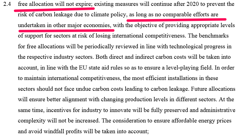 Carbon leakage provisions in EU Council conclusions, 2030 Climate and Energy Policy Framework, Oct 2014